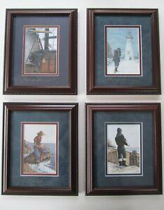 "4 Signed Prints BEN RICHMOND Gallery Framed  10 x 8.5""  Ohio Nautical Art"