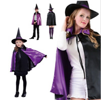 Girl Children Witches Hat Vampire Cape Cloak Party Fancy Halloween Costume