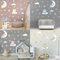 Cartoon Cute Bear Wall Stickers Moon Cloud Vinyl Art Decal Kids Girls Room Decor