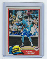 1981 BREWERS Sixto Lezcano signed card Topps #25 AUTO Autographed Milwaukee