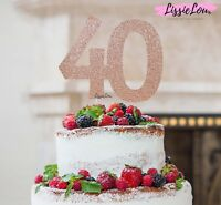 LissieLou 40th Birthday Cake Topper Glitter Card Made in the UK