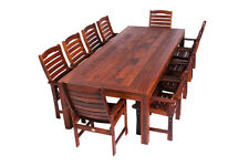 11 Piece Rectangle Wideboard Dining set in Solid Merbau