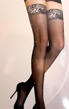 Rhinestone Diamante Studded Lace Top Fishnet Stockings Crystal Hold ups stocking