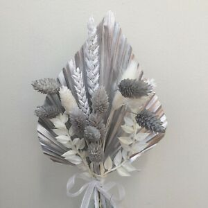 Silver Palm Spear, Dried Flowers, CAKE TOPPER, Grey & White Florals