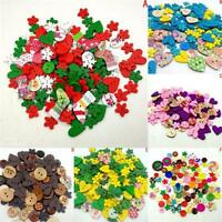 100 Pcs Wood Buttons 2 Holes Heart/Flower Pattern Sewing Scrapbooking Colorful