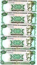 LOT Nicaragua, 5 x 10 Cordobas, 1985 (1988), P-151, UNC > Sandinista Army