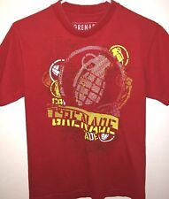 Grenade Outline Bomb Tee Mens Red  100% Cotton Short Sleeve T-Shirt S