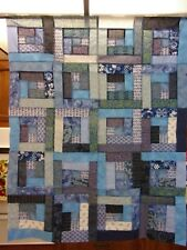 """Scrappy Blue Log Cabin Quilt Top 35"""" x 43"""""""