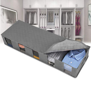 Underbed Storage Bags Clothes Shoes Organizer Boxes Gray Large
