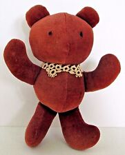 """Vintage Brown Velvet Teddy Bear with Tatted Lace Collar 6 1/2"""""""