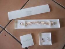 lot parure perles de culture bracelet 2 rangs et boucles d'oreilles nacre rose