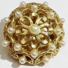 broche rétro déco relief ajouré perles nacrées couleur or poli * 5016