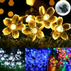 50-100 LED Solar Fairy Garden String Flower Lights Garden Party Outdoor K6U0