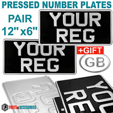 AMERICAN IMPORT PAIR 12x6 OLD STYLE METAL BLACK & SILVER PRESSED NUMBER PLATES