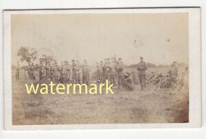 Soldiers shooting, at camp, rifle volunteers, Bedford, CDV