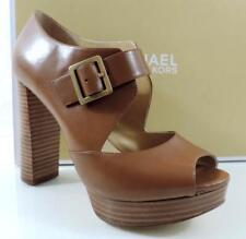 Michael Kors ELENI PLATFORM Mary Jane Pumps Sandals Leather Luggage Size 10