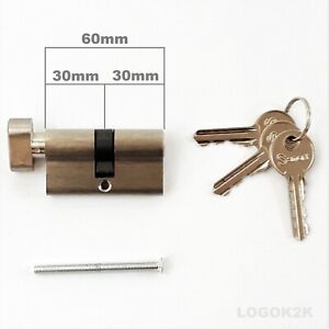 THUMB TURN CYLINDER EURO SHAPE   LOCK   BARREL DOOR  30mm / 30mm = 60mm   SILVER