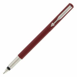 Parker Vector Fountain Pen  Red & Stainless Steel Medium Pt New Made In Usa