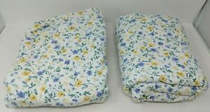 Laura Ashley Twin Floral Yellow Blue Flowers Flannel Sheet Set Flat Fitted VTG