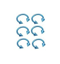 """Lot of 10 Pieces 16g 3/8""""  Lite  Blue Anodized Spiked Horseshoes"""