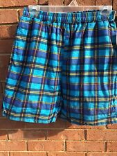 Vintage Boy's Blue Plaid Swim Trunks Board Shorts