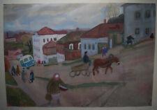 "Antique Original Russian PAPER Gouache 1968 artist Kalinycheva K.I. ""Borovsk."""