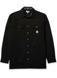 Carhartt Men's  loose fit flannel lined snap front shirt jacket large tall