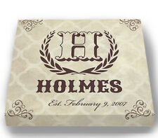 Personalized Family Name & Initial Crest Stretched Canvas Wall Art Wedding Gift