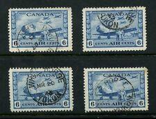 CANADA 1942 AIRMAIL 6c FINE USED SASKATCHEWAN + YUKON...SG399...4 stamps cv £52