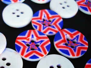 20 Navy Blue/White/Red USA Patriotic Star Plastic 18mm Button/Sewing/2 Hole Sb19