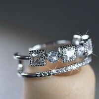 18K White Gold GP made with Swarovski crystal open band fashion ring 6 7 8 9