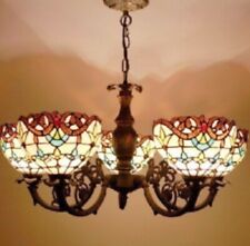 Tiffany Style Chandelier 5 Arms Handcrafted Hanging Stained Glass Vintage Light
