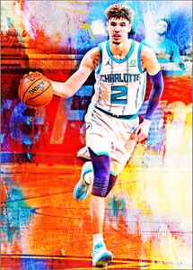 2021 Lamelo Ball Charlotte Hornets 1/25 Art ACEO Print Card By:Q