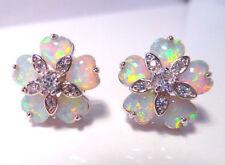 Opal Cubic Zirconia Stud Costume Earrings