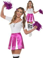 Ladies Cheerleader Kit American High School Fancy Dress Pom Poms Adults New