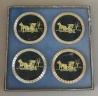 Vintage Set Of 4 Horse & Carriage Coasters Barware Home Decor Gift 1950's 1960's