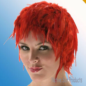 Wig Rooster Hackle Feathers Halloween Costume Punk Retro New RED