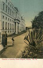 Potugal Ponta Delgada - Hospital e Avenida old postcard
