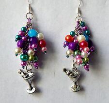 """It's 5 o'clock Somewhere"" Pearl Dangle Earrings. Handmade by Slave Violet"
