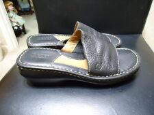Born SZ 7M Wedge Slide Sandal Women  Black Leather