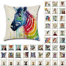 "UK 18"" Animal Art Cushion Cover Linen Throw Pillow Case Sofa Home Decor Reindeer"