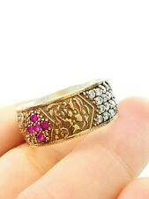 HANDMADE FASHION JEWELRY RUBY BAND RING STERLING 925 SILVER R1721