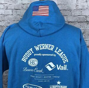 Vail Beaver Creek Buddy Werner League Ski Racing Blue Hoodie Sweatshirt Sz 10-12