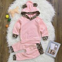 2 PCS Infant Neugeborenen baby Mädchen Warme Mit Kapuze + hosen Kinder Gesc L5B0