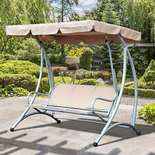 Outsunny Garden Hammock 3 Seat Metal Swing Chair Hammock w/ Canopy Cover Beige