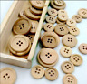 Lot 50Pcs Mixed Wooden Buttons Natural Color Round 4-Holes Sewing Scrapbooking