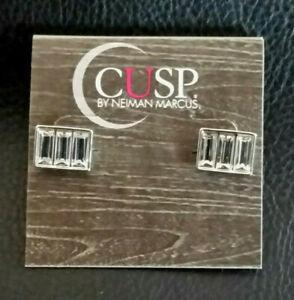 NEIMAN MARCUS EARRINGS CUSP Silver Plated Crystal Rhinestone Baguette Stud #898