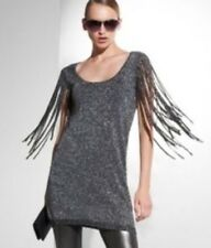 BCBG Max Azria Grey Silver Metallic Fringe Knit Mini Party Dress Tunic sz. XS