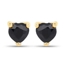 0.70 ct Genuine Blue Sapphire Gemstone 10K Yellow Gold Heart Stud Earrings Pair