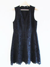 Theory Size US 10 AU 12 Black Embroidered Cotton Linen Eyelet Lace Jemion Dress